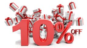10% 3D numbers with bunch of gift boxes. Isolated on white background Royalty Free Stock Image