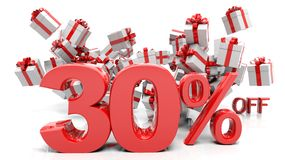 30% 3D numbers with bunch of gift boxes Stock Photography