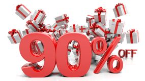 90% 3D numbers with bunch of gift boxes Stock Images