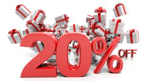 20% 3D numbers with bunch of gift boxes. On white background Stock Photos