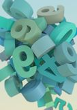 3D Numbers. Collage in pastel tones Royalty Free Stock Photo