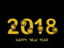 2018 3d numbers from golden dots numbers with twirl. Happy New Y. Ear background Royalty Free Stock Image