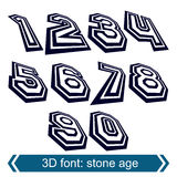 3d numbers in rotation, stylish vector numeration. Design. Doodle black and white numbers Stock Photo