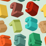 3d numbers seamless  pattern. Vector background Stock Photo
