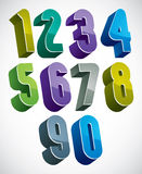 3d numbers set, colorful glossy numerals for design. 3d numbers set in blue and green colors made with round shapes, colorful glossy numerals for advertising and Stock Images