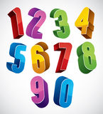3d numbers set made with round shapes. Stock Photos