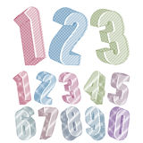 3d numbers set made with round shapes with lines textures. Stock Photography