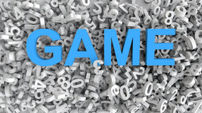 3d numbers and word Game. Concept of game of numbers Royalty Free Stock Photo