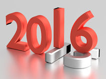 3d numbers. 2016 year over 2015. Red 3d numbers of New Year 2016 over grey old 2015 Stock Photo