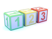3d Numerical wooden blocks. 3d render of numerical wooden blocks Royalty Free Stock Photos