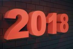 3D nummer för text 3D för illustration 2018 Text för lyckligt nytt år 2018 Stock Illustrationer