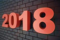 3D nummer för text 3D för illustration 2018 Text för lyckligt nytt år 2018 Arkivfoton