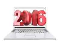 3D nuovo anno 2016 in computer portatile Immagini Stock Libere da Diritti