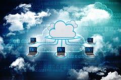 2d nuvem que computa, conceito de computação da rendição da nuvem Fotografia de Stock