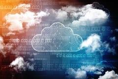 2d nuvem que computa, conceito de computação da rendição da nuvem Imagens de Stock Royalty Free