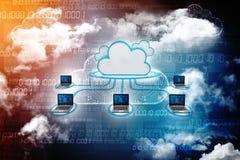 2d nuvem que computa, conceito de computação da rendição da nuvem Imagens de Stock