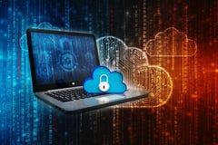 2d nuvem que computa, conceito de computação da rendição da nuvem Fotos de Stock Royalty Free