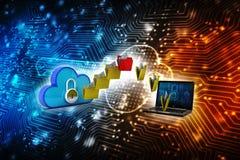 2d nuvem que computa, conceito de computação da rendição da nuvem Foto de Stock Royalty Free