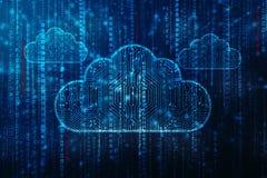 2d nuvem que computa, conceito de computação da rendição da nuvem Fotografia de Stock Royalty Free
