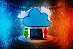 2d nuvola che computa, concetto di calcolo della rappresentazione della nuvola Immagini Stock