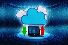2d nuvola che computa, concetto di calcolo della rappresentazione della nuvola Fotografia Stock Libera da Diritti