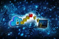 2d nuvola che computa, concetto di calcolo della rappresentazione della nuvola Fotografia Stock