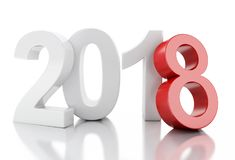 3d nytt år 2018 Fotografering för Bildbyråer