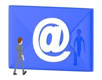 3d o caráter, homem que anda para o envelope com email assina-o dentro ilustração stock