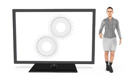 3d o caráter, mulher que está perto de uma tela de monitor com a roda denteada nele a emenda, ajusta, ajustes Ilustração Stock