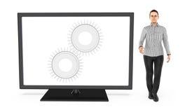 3d o caráter, mulher que está perto de uma tela de monitor com a roda denteada nele a emenda, ajusta, ajustes Ilustração do Vetor