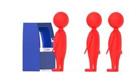 3d o caráter vermelho, fila de s em um atm opõe-se ilustração stock