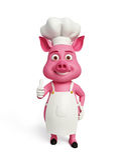 3d o cozinheiro chefe Pig com polegares levanta acima Foto de Stock