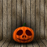 3D o dźwigarki Halloweenowy lampion na drewnianym tle Fotografia Stock