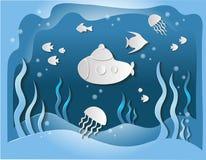 3D o mundo submarino, submarino nada debaixo d'água entre peixes e alga, cinzeladura de papel da arte e estilo digital do ofício  ilustração stock