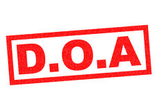 D.O.A Rubber Stamp. D.O.A red Rubber Stamp over a white background Stock Images