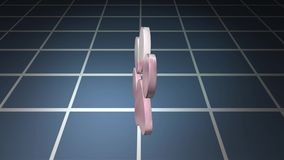 Object rotating above the grids, motion graphics stock video