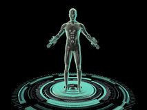 3D Object - Powerful body standing on futuristic platform. Against black background Stock Images