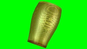3d objecten artistiek verfraaid glas met gouden textuur die op het groene scherm roteren royalty-vrije illustratie