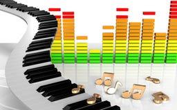 3d observa llaves del piano Foto de archivo libre de regalías