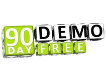 3D obtêm 90 o dia Demo Free Block Letters ilustração stock