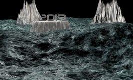 3D oceaankarikatuur voor internationale situatiebedreiging stock afbeeldingen