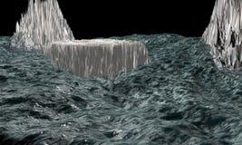 3D oceaankarikatuur voor internationale situatiebedreiging royalty-vrije stock afbeelding