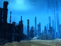 3D Ocean floor. Ruined sunken city on the ocean Royalty Free Stock Photo