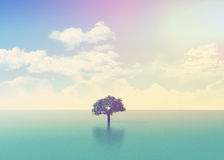 3D ocean scene with tree with retro effect Royalty Free Stock Photos