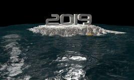 3D oceanu karykatura dla międzynarodowej sytuacji zagrożenia ilustracja wektor