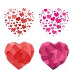2D och Polygonal hjärta för valentindag Arkivfoton