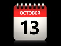 3d 13 october calendar. 3d illustration of 13 october calendar over black background Royalty Free Stock Photos