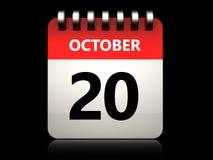3d 20 october calendar. 3d illustration of 20 october calendar over black background Stock Photography