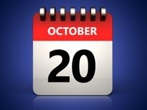 3d 20 october calendar. 3d illustration of 20 october calendar over blue background Royalty Free Stock Image