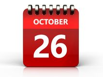 3d 26 october calendar. 3d illustration of october 26 calendar over white background Royalty Free Stock Photos